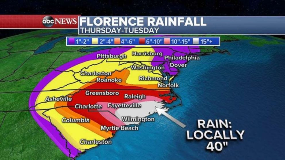 PHOTO: Rainfall could be as much as 40 inches locally along the North Carolina coast.