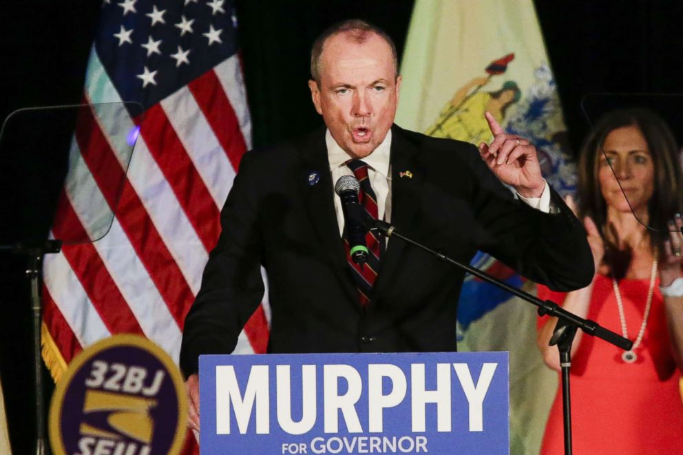 PHOTO: New Jersey Governor-elect Phil Murphy speaks at an election night rally on Nov. 7, 2017, in Asbury Park, N.J.