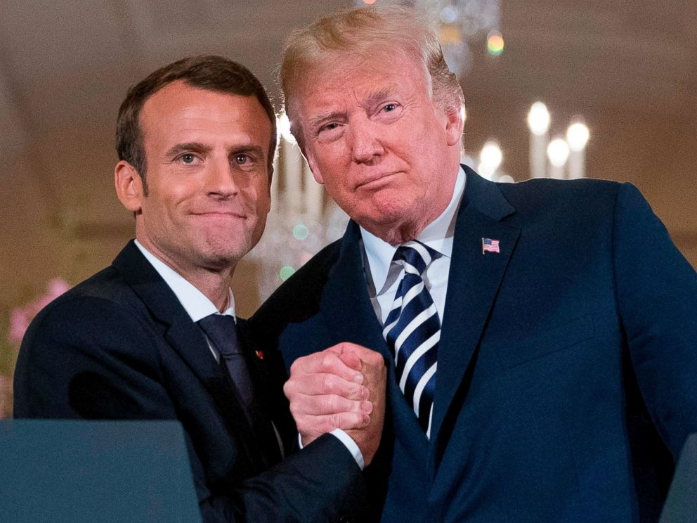 PHOTO: French President Emmanuel Macron and President Donald Trump and embrace at the conclusion of a news conference in the East Room of the White House in Washington, April 24, 2018.