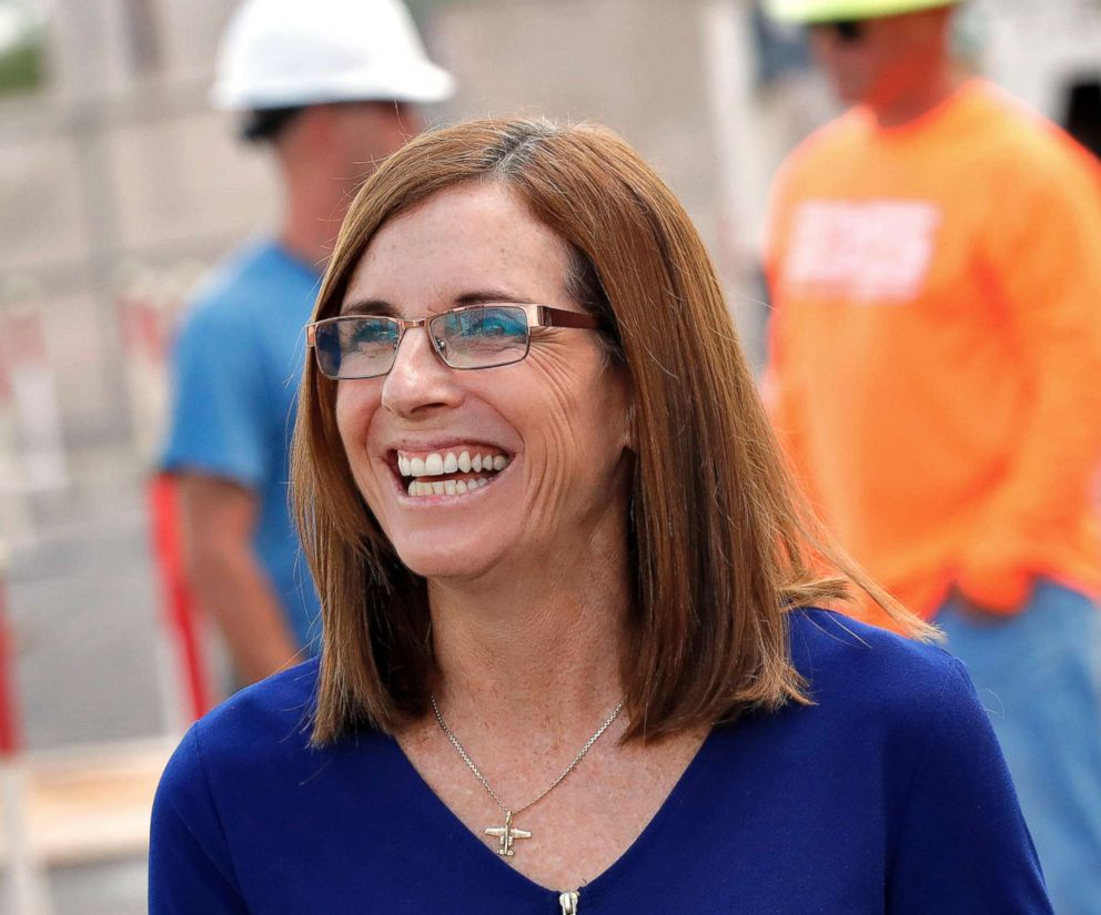 PHOTO: U.S. Rep. Martha McSally talks to tours at a crane manufacturing and training facility, , Oct. 3, 2018, in Phoenix.