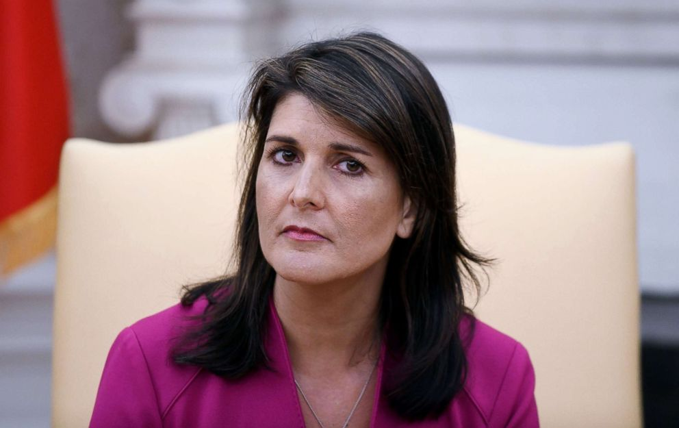 PHOTO: Nikki Haley, the United States Ambassador to the United Nations during a meeting with US President Donald Trump speaks in the Oval office of the White House, Oct. 9, 2018, in Washington, D.C.