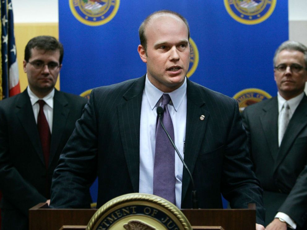 PHOTO: U.S. Attorney Matthew Whitaker speaks during a news conference, Jan. 16, 2007, in Des Moines, Iowa.