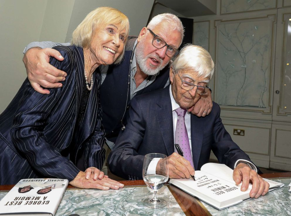 PHOTO: Lady Mary Parkinson, Founder and CEO of Ted Baker, Ray Kelvin and Sir Michael Parkinson attend the launch of new book George Best: A Memoir by Sir Michael Parkinson, Nov. 12, 2018, in London.