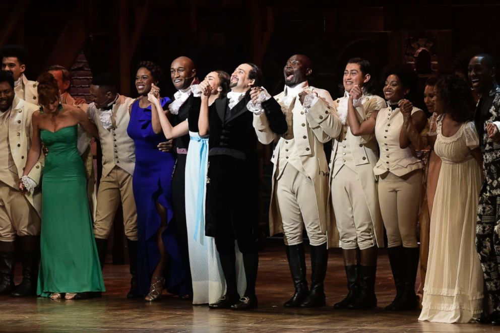 PHOTO: Actors of the the award-winning Broadway musical, Hamilton, including its composer and creator, Lin-Manuel Miranda, center, receive a standing ovation at the ending of its premiere in San Juan, Puerto Rico, Jan. 11, 2019.