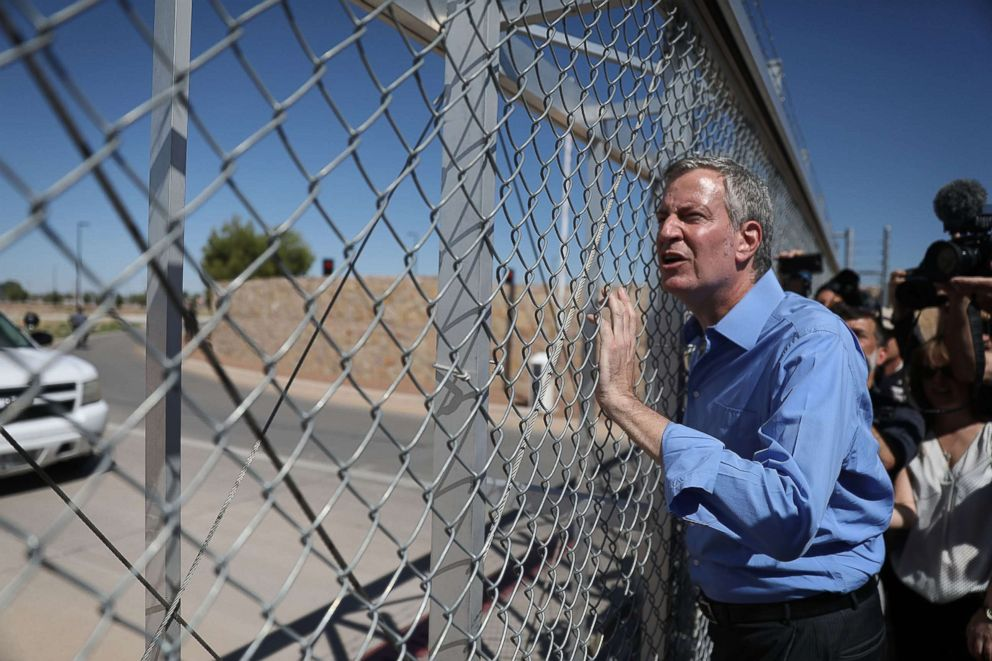 PHOTO: New York City Mayor Bill de Blasio stops at a gate after being told he could not cross through the gate to the tent facility setup at the Tornillo-Guadalupe Port of Entry, June 21, 2018 in Fabens, Texas.