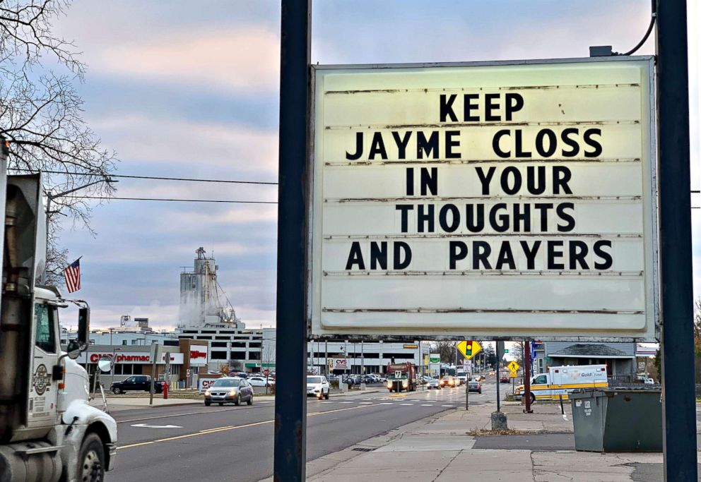 A sign is seen in the small town of Barron, Wis., Oct. 23, 2018, where 13-year-old Jayme Closs was discovered missing Oct. 15 after her parents were found fatally shot at their home. A search was being organized to find the couples missing daughter.