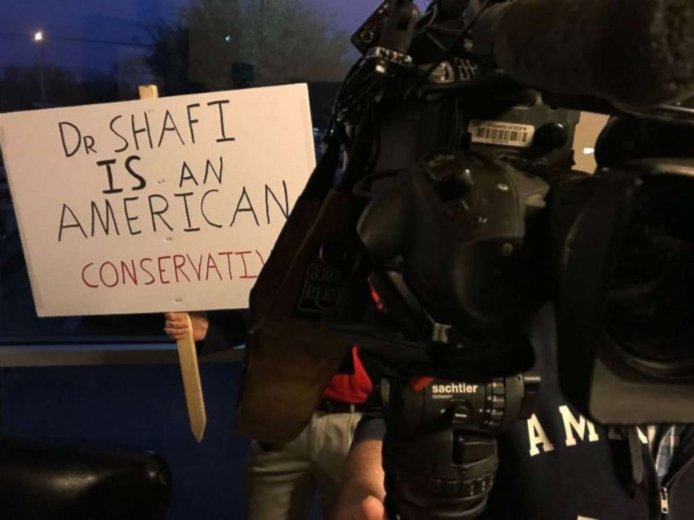 PHOTO: A supporter outside called for Shahid Shafi not to be ousted from the Tarrant County GOP. A vote was held Thursday, Jan. 10, 2019, and Shafi was not removed, despite a fellow members calls to do so over him being Muslim.