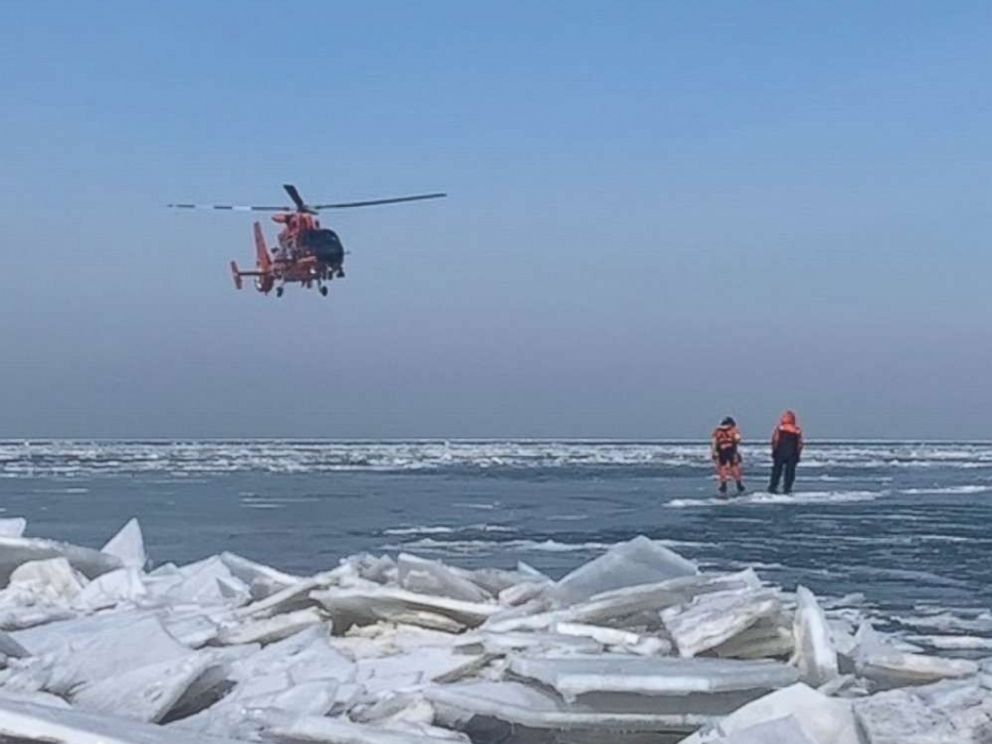 PHOTO: Forty-six ice fishermen were rescued by the U.S. Coast Guard near Catawaba Island, Ohio, after becoming stranded on an ice floe on Saturday, March 9, 2019.