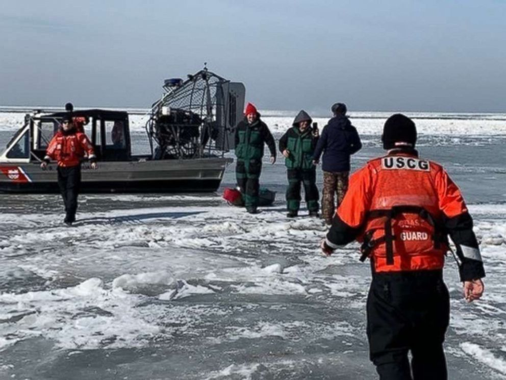 PHOTO: Forty-six ice fishermen were rescued by the U.S. Coast Guard near Catawaba Island, Ohio, after becoming stranded an ice floe on Saturday, March 9, 2019.