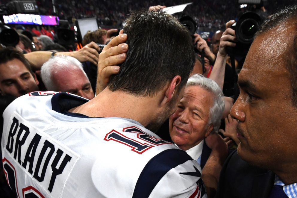 PHOTO: New England Patriots Quarterback Tom Brady celebrates with owner Robert Kraft after Super Bowl LIII between the New England Patriots and the Los Angeles Rams in Atlanta, Feb. 3, 2019.